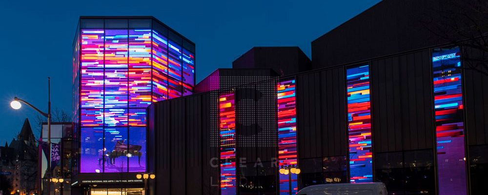 The National Arts Centre (NAC) – ClearLED delivers the largest transparent media facade in North America